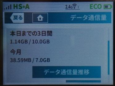 WX05 データ通信量情報画面